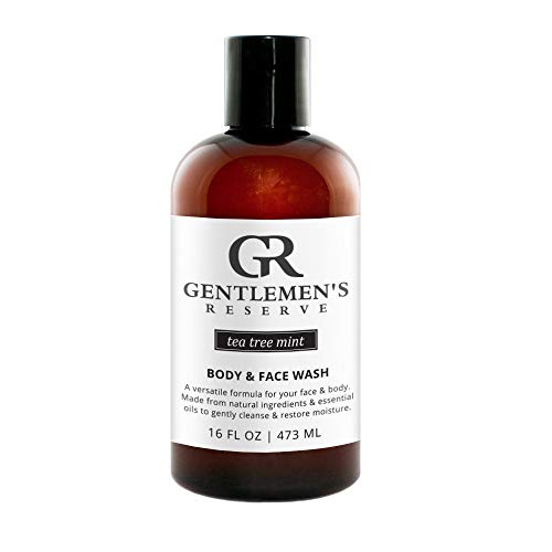 Gentlemens Reserve Organic 2-in-1 Wash, Mens All-Natural Body & Face Wash for Normal, Dry, or Sensitive Skin, 16 oz. (Tea Tree Mint Scent)