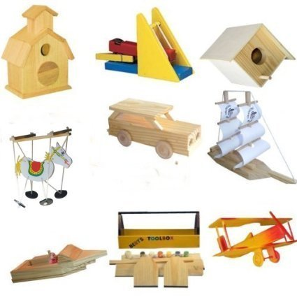 9 Assorted Wood Craft Kits For Kids - Assortment II