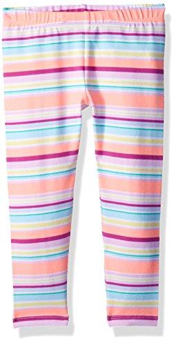 Gymboree Little Girls' Printed Knee Length Legging, Coral Stripe, S ()