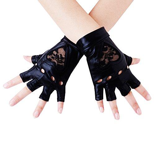 JISEN Women Wet Look Lace Heart Insert Fingerless Lame Gloves 5.5 Inch Black S