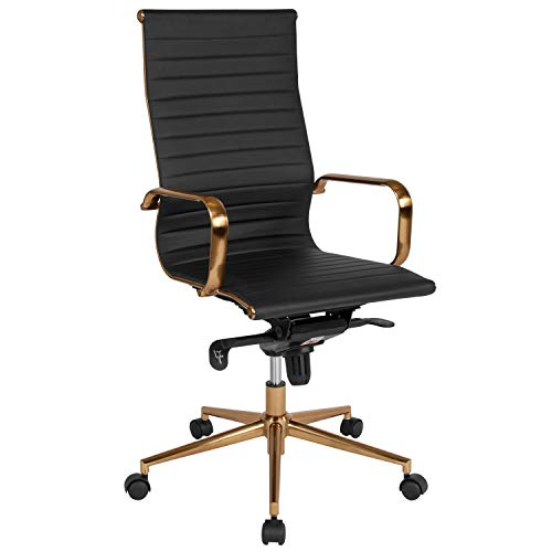 (Flash Furniture High Back Black Ribbed Leather Executive Swivel Chair with Gold Frame, Knee-Tilt Control and Arms)