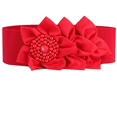 (Nanxson(TM) Women's Elastic Ladies Fashion Dress Casual Belt with Decorative Flower PDW0050 (red))