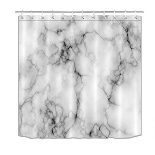 (LB Grey Marble Texture Shower Curtain Set Domolite Luxury Concise Granite Bathroom Decoration Gray Bathroom Curtain with Hooks 72x72inch Waterproof Polyester Fabric)