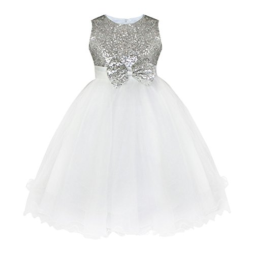 iEFiEL Girls Sequin Bowknot Princess Dance Ball Party Flower Dress Silver 7-8 -