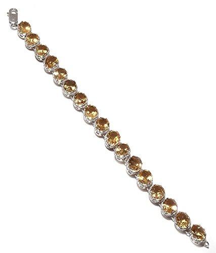 Be You Plaqué frappante citrine jaune doré réelle pierres précieuses rhodium bracelet en argent sterling pour les femmes