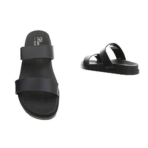 T Design Sandales Chaussures Noir Ital Femme 8006 Mules Plat 0dPxPqwC