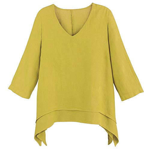 Women's Easy Fit Double Layer Garment Dyed Linen Tunic Top - XL - ()