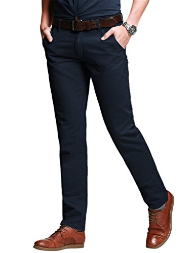 Match Men's Slim Fit Tapered Stretchy Casual Pants (29W x 31L, 8126 Blue) Cotton Button Pants Flat Front