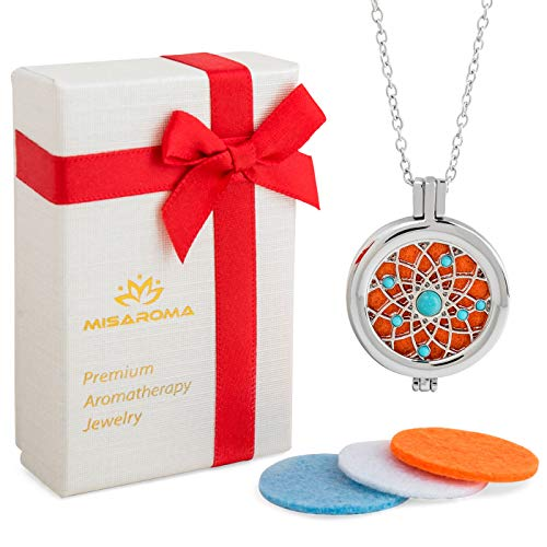 "Unique Gift: Aromatherapy Essential Oil Necklace Diffuser Locket. Upgraded Solid Back Essential Oil Diffuser with 24"" Chain and 3 different Color Refill Pads [Mother's Day Gift] [Todays Giveaways]"
