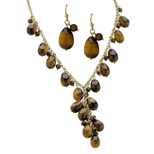 Palm Beach Jewelry Goldtone Genuine Brown Tiger's Eye Drop Earring and Y Neck Necklace Set (12.5mm), Lobster Claw Clasp, 17 inches Plus 3 i