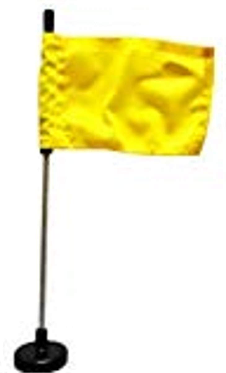 Magnetic Base Flag Holder 1 FT. Steel Pole - Hold Force 212 lbs. - 4 x 6 Yellow Flag