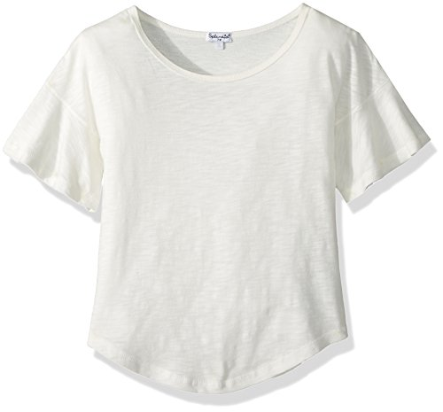 Splendid Girls' Big SA Flounce Sleeves top, Off Off White 7/8 (Top White Off Round)