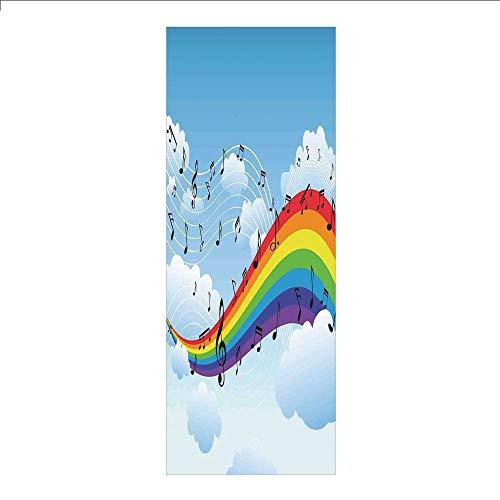 3D Decorative Film Privacy Window Film No Glue,Music Decor,Rainbow with Music Notes Cloudscape Cartoon Fun Artwork Symphony Sky,for - Mug Symphony