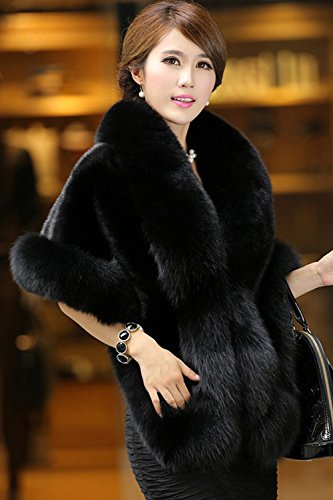 YACUN Womens Faux Fur Coat Wedding Cloak Shawl For Evening Party Black One Size at Amazon Womens Coats Shop