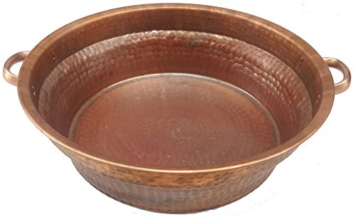 Egypt gift shops 21'' Large Fire Burnt Foot Massage Bath Bucket Handles Pedicure Spa Styling Salon Bowl 14'' Bottom by Egypt Gift Shops
