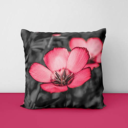 41bui9hiY6L Pink Flower Square Design Printed Cushion Cover