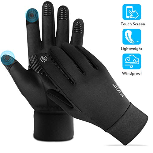 FoPcc Running Gloves for Men Women Compression Lightweight Touch Screen Cycling Windproof Anti-Slip Gloves Warm Liners for Winter (Large)
