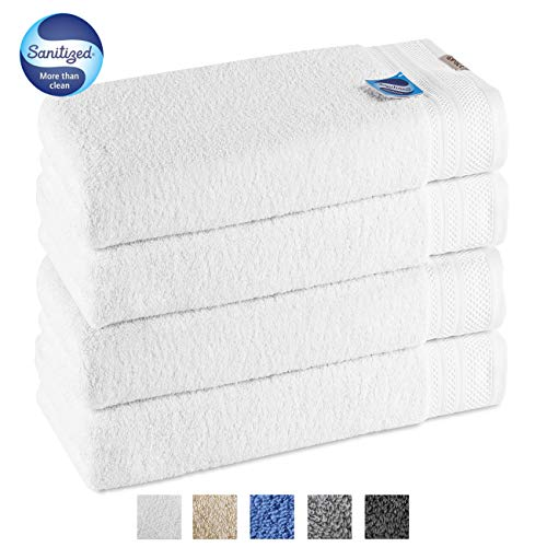 GRACE ORCHID Luxury 4 Piece Bath Towel Set 56x28 Inch -100% Long Staple Cotton Super Soft, Machine Washable,Ultra Absorbent and Eco-Friendly Bath Towels for Bathroom, Hotel and Spa Quality(White)