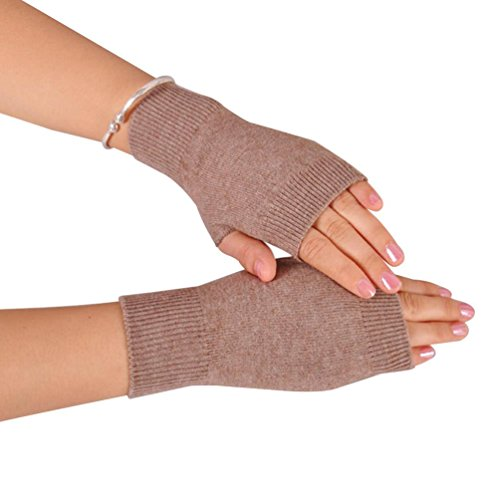 NOVAWO 100% Cashmere Half Fingerless Thumb Hole Warm Gloves Mittens for Men Women, Khaki (Gloves Fingerless Mittens)