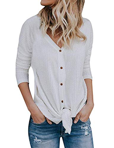 Womens Waffle Knit Tunic Blouse Tie Knot Henley Tops Long Sleeve Button Down Front Bat Wing Plain Shirts (White, X-Large) ()