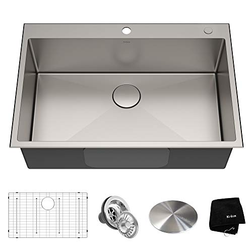 (Kraus KHT300-33 Standart PRO Kitchen Stainless Steel Sink, 33 inch, Single Bowl)
