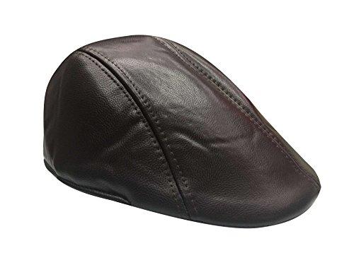 Casquette Unique Taille Bonnet Pu Acvip Foncé Brun Homme Femme Béret Chapeau Plate qwxzETB4f
