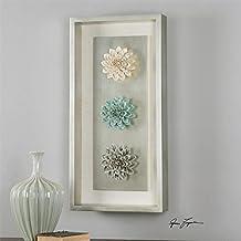 "35"" Ceramic Pastel Dahlia Flowers in Silver Shadow Box Frame Decorative Wall Art"
