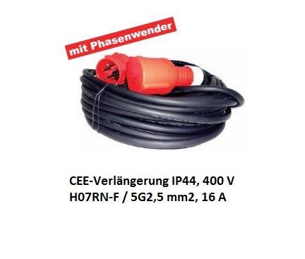 Verlängerungskabel 400 Volt 50m CEE-Verlängerung IP44, H07RN-F / 5G2,5 m2, 16 A mit Phasenwender