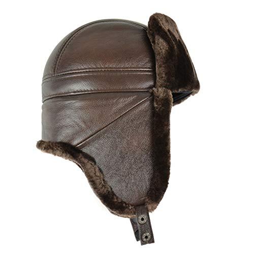 Amazon.com : Winter Trooper Hat Shearling Sheepskin Leather Aviator Russian Ushanka Trapper Winter Fur Hat : Sports & Outdoors