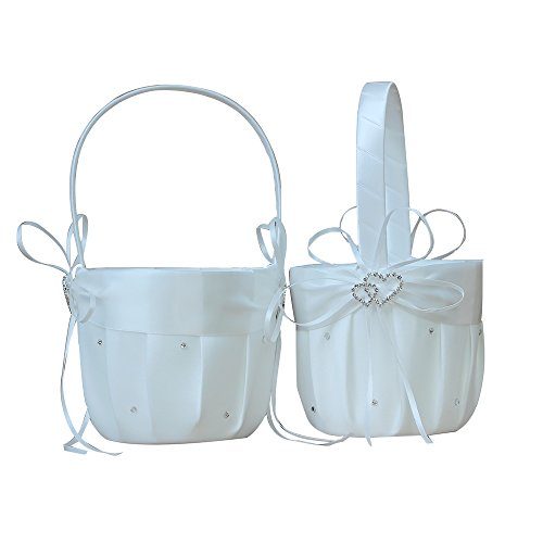 Flower Girl Basket Set - AmaJOY 2pcs Beach wedding Flower Girl Basket Ivory Flower Basket with Double Heart Rhinestone Decor