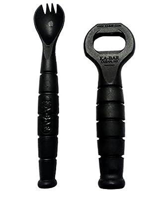 Ka-Bar Military Spork & Bottle Opener - Spoon Fork Knife Combo Set - Camping Hiking Hunting Backpacking Outdoor Survival Multitool Utensil Accessory