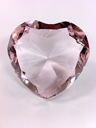 Diamond Jewel Paperweight 80mm Pink Heart Shaped Cut Shaped Clear Crystal