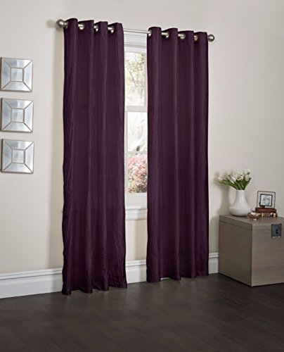 Purple Orange Crushed Satin Window Curtain Panel With 8 Grommets, Curtains - 52''X84'' by Window Treatment