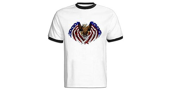 American Eagle Flag Logo hombre contraste Color camiseta: Amazon ...
