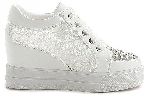 Vuxen Kvinna Dolda Hälkilar Snörning Tillfälliga Mode Sneakers White-3