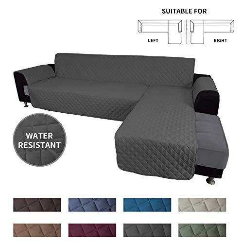 affordable Easy-Going Sofa Slipcover L Shape Sofa Cover Sectional Couch Cover Chaise Lounge Cover Reversible Sofa Cover Furniture Protector Cover for Pets Kids Children Dog Cat (X-Large, Dark Gray/Dark Gray)