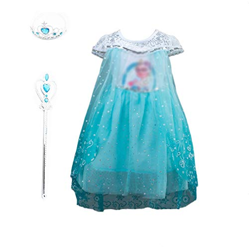 - Familycrazy Girl's Frozen Princess Costume Dress with Tiara, Wand for Birthdays and Cosplay