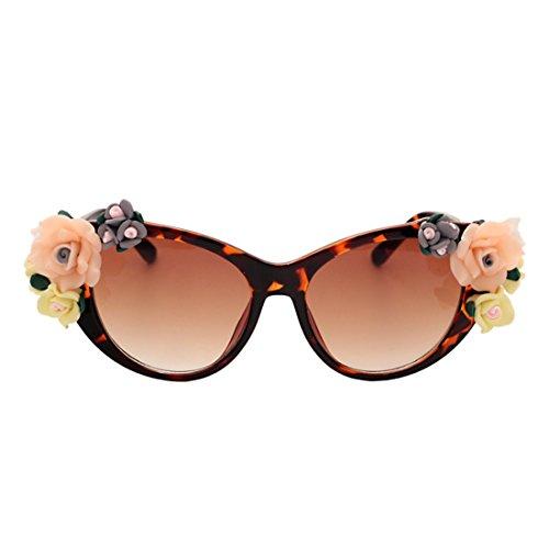 rosas Crepúsculo Huicai Eye Cat Oval Flores moda mujer Mujeres verano Sunglasses Playa gafas gafas O1POqxRw