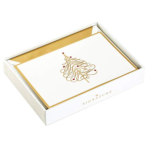 Hallmark Signature Christmas Boxed Cards, Gold Tree (10 Christmas Cards with Envelopes)