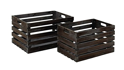 Benzara Style Wood Wine Crate Crafted from Solid Wood, Se...