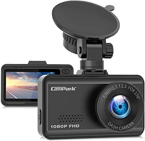 Campark Dash Cam 1080P FHD Dashboard Camera for Cars with 170 Wide Angle G-Sensor Loop Recording Super Night Vision and 24 Hours Parking Monitor