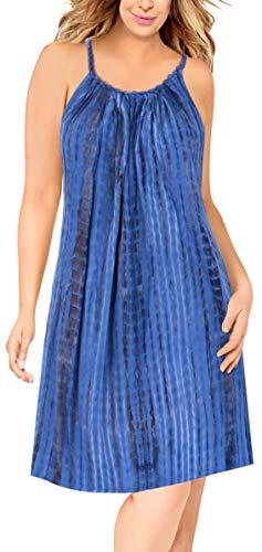 LA LEELA Women's Beach Boho Flowy Party Tunic T-Shirt Dress US 14-18W ()