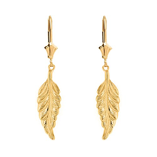 Solid 14k Yellow Gold Bohemia Leaf Feather Dangle Earrings
