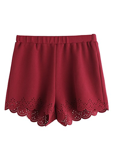 SweatyRocks Women's Scallop Hem Mini Shorts Casual Elastic Waist Lounge Shorts Burgundy L (Red Scallop)