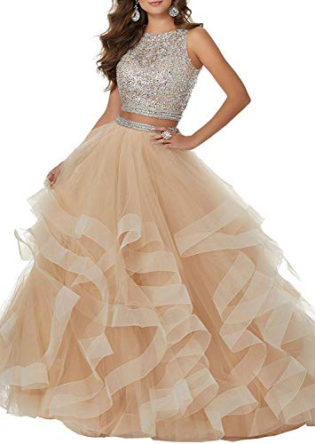 Sexy Two Piece Crystal Beaded Prom Dresses Long Tulle Formal Prom Ball Gowns B Champagne US14