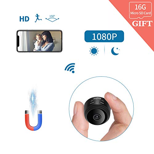 HD Hidden Camera WiFi JOYTRIP Mini Spy Camera Wireless 1080P Cop Cam Nanny Cams Wireless with Cell Phone App/Motion Detection/Night Vision for Home/Pet (Included 16G SD Card, A9) ()