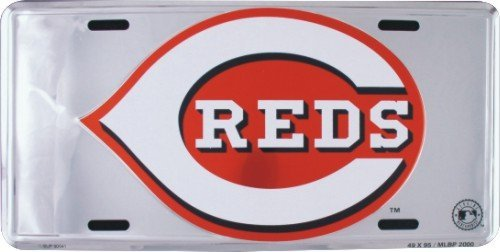 HANGTIME Cincinnati Reds Super Stock metal auto tag mirror background