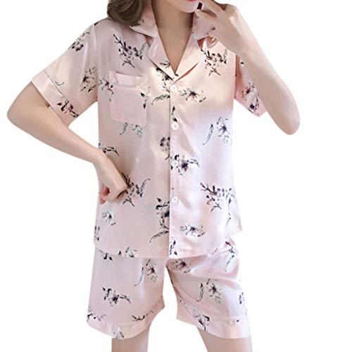 Tomppy Women Pajama Sets Short Sleeve Button-Down Shirts +Short Pants Printed Sleepwear Loungewear Pink