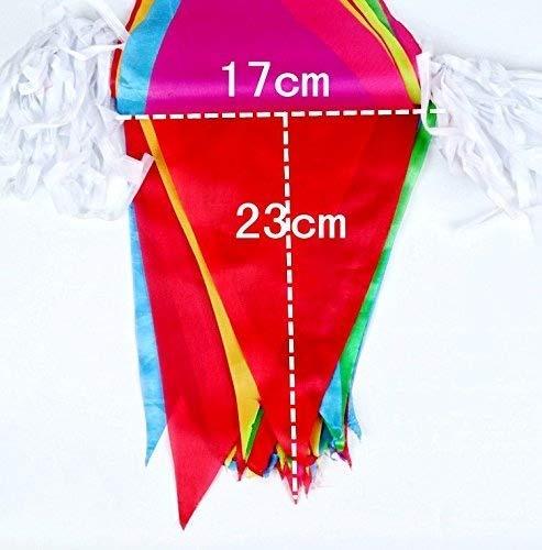 JZK 80 metros bunting partido colores triángulo banner bandera cuerda colgando decoración para boda cumpleaños celebracion fiesta bienvenida Navidad víspera ...