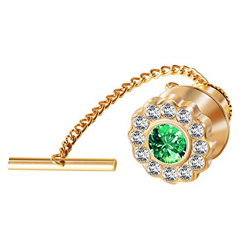 Digabi Men's Jewelry Flower 10mm Tie Tack With Chains and Clutch Back Glittering Rhinestone and Clear Crystal Tie Clip Button Color Options